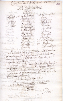 Scan des Originalprotokolls vom 15. April 1779