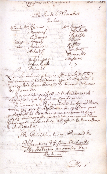 Scan des Originalprotokolls vom 6. November 1766